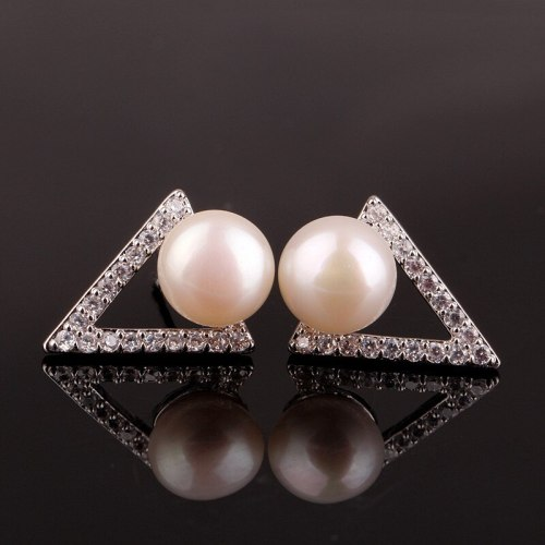 Triangle Temperament Freshwater Pearl Simple  Stud Earring Women's Korean-Style All-match Earrings Jewelry Qxwe889