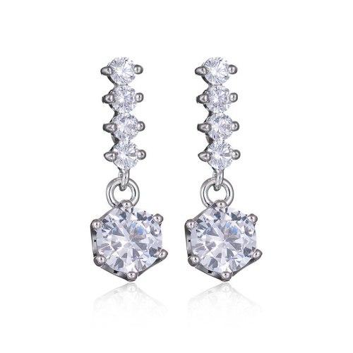Korean-Style Pure Silver Stud Earring Female Ear Stud Simple Elegant Earring Pendant Qxwe768