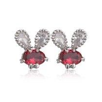 Rabbit  Stud Earring Copper AAA Zircon Inlaid Cartoon Earrings Fashion Korean-Style All-match Earring Jewelry Qxwe317
