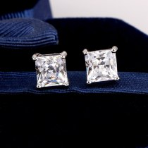 Korean-Style Exquisite Stud Earring Square AAA Zircon Inlaid Earrings Platinum Electroplated Earring Jewelry Qxwe425