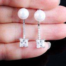 Two-Piece Fashion  Stud Earring Korean-Style AAA Zircon  Stud Earrings S925 Silver Pin Pearl Earring Jewelry Qxwe694