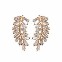 Fashion Trend Leaf-Shaped Earrings Zircon Earring Korean Style Cool 925 Ear Pin Champagne Gold  Stud Earring Qxwe961
