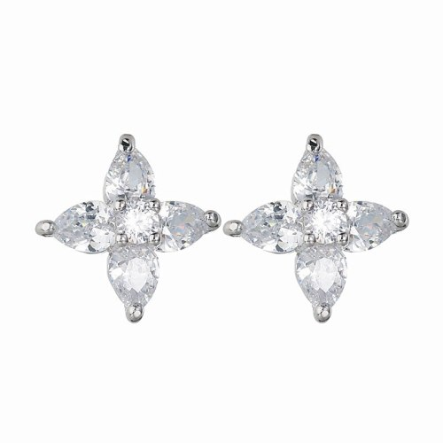 Classic Cool Stud Earring Korean-Style Copper Inlaid AAA Zircon Creative Flower Girl's All-match Earring Qxwe1211