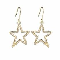 Korean-Style AAA Zircon Micro Pave Earrings Five-Star Symmetrical Ear Pendant Earrings Qxwe1044
