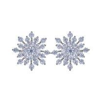 Full Diamond Snowflake Stud Earrings Super Shiny AAA Zircon Inlaid Ear Stud Plated Platinum Earrings Wholesale Qxwe675