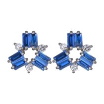 Blue Zircon Inlaid Stud Earrings Korean-Style Exquisite Fashion Stud Earring Plated Platinum Jewelry Qxwe340