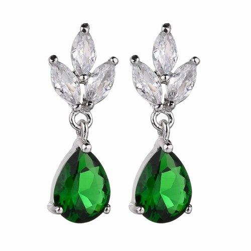 Triple-Leaf Earring AAA Zircon Inlaid Earrings Korean-Style Exquisite Stud Earring Bridal Earring Jewelry Qxwe1322