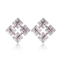 Rubik's Cube Stud Earrings AAA Zircon Inlaid Korean-Style Shiny Fashion Jewelry Girls Stud Earrings Qxwe1066