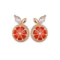 Korean-Style Crystal Stud Earring Grapefruit Fruit Element Ear Stud S925 Sterling Silver Pin Fashion Creative Earrings Qxwe1339