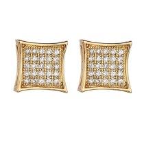 Square  Stud Earring Jewelry AAA Zircon Micro Pave European and American Quality Stud Earring Fashion Luxury Jewelry Qxwe772