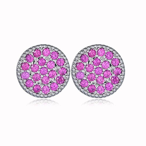 Korean-Style Ruby Round  Stud Earring AAA Zircon Copper Micro Pave Earrings 925 Silver Pin Qxwe642