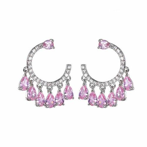 New Style Earrings AAA Zircon Stud Earrings 925 Sterling Silver Pin Cool Fashion Trendy Earrings Wholesale Qxwe1362