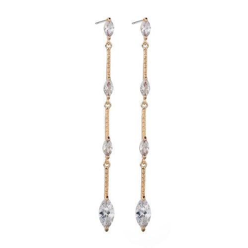 Tassel Long AAA Zircon Earrings Copper Inlaid Sterling Silver Stud Earrings Korean-Style Creative Earrings Qxwe1283