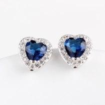 Lovely AAA Crystal Zircon Earrings Korean-Style Simple Stud Earrings 925 Silver Pin Girl's Earrings Qxwe699