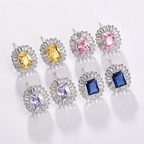 Zircon Earrings 925 Sterling Silver Ear Pin Inlaid Zircon Crystal European and American Elegant Earrings Jewelry Qxwe1259