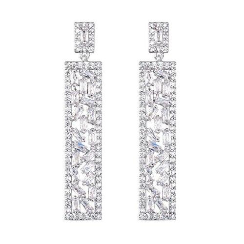 New Fashion Creative Earrings Zircon Inlaid 925 Sterling Silver Ear Pin Dinner Stud Earrings Qxwe0579