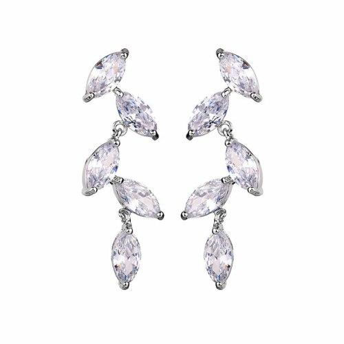 Leaves Stud Earrings Sterling Silver Needle Korean Style New Ear Stud AAA Zircon Crystal Inlaid Earrings Qxwe1221618