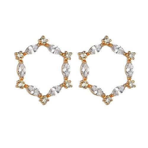 Flower Window Stud Earring Copper Inlaid AAA Zircon S925 Sterling Silver Stud Earrings Korean-Style Ear Jewelry Qxwe1311