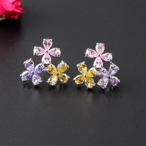 Colorful Flower Ear Stud Earrings AAA Gemstone Inlaid Ear Stud 925 Sterling Silver Ear Pin Delicate Earrings Qxwe1181