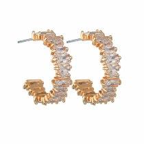 Creative Stud Earrings AAA Zircon Inlaid Geometric Earrings 925 Sterling Silver Pin Accessories Girl Gift Qxwe1351
