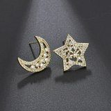 S925 Sterling Silver Stud Earrings Copper Inlaid Zircon Earrings Star Moon Asymmetric Earrings Jewelry Qxwe0577