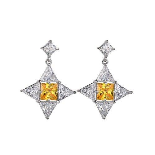 Geometric Star Ear Pendant 925 Sterling Silver Needle Stud Earrings Copper Inlaid AAA Zircon Korean Fashion Earrings  Qxwe1093