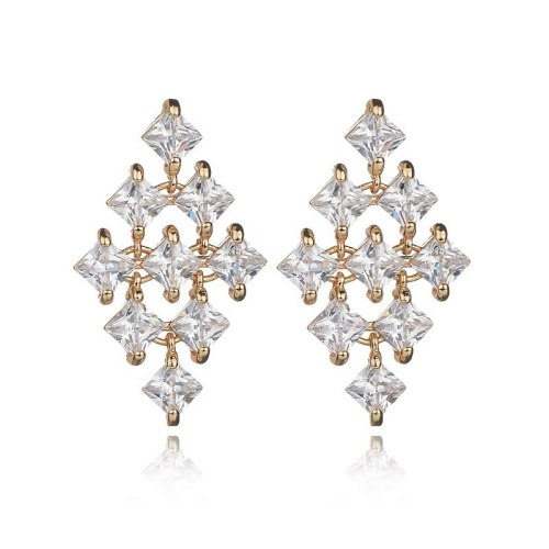 Korean-Style Copper Inlaid Stud Earrings 925 Sterling Silver Ear Pin Stylish Rhombus Earrings Female Qxwe956