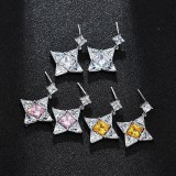 Geometric Star Ear Pendant 925 Sterling Silver Needle Stud Earrings Copper Inlaid AAA Zircon Korean Fashion Earrings  Qxwe1093