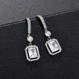 New Zircon Inlaid Earrings 925 Sterling Silver Needle Stud Earrings Korean-Style Exquisite Popular High-End Earrings Qxwe1307