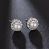 Pearl Zircon Earrings Inlaid with Korean-Style Fashionable Simple Girl's Stud Earrings 925 Silver Pin Qxwe794