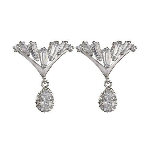 Korean Fashion V Formation Zircon Water Droplets Stud Earrings Sterling Silver Needle AAA Zircon Earrings Earrings  QxWE1004