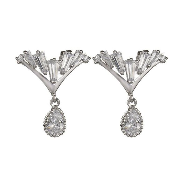 Korean Fashion V Formation Zircon Water Droplets Stud Earrings Sterling Silver Needle AAA Zircon Earrings Earrings  QxWE1004