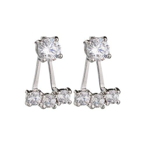 Copper Inlaid AAA Zircon Earrings Fashion Back Hanging Double Wear 925 Sterling Silver Stud Earrings Qxwe710