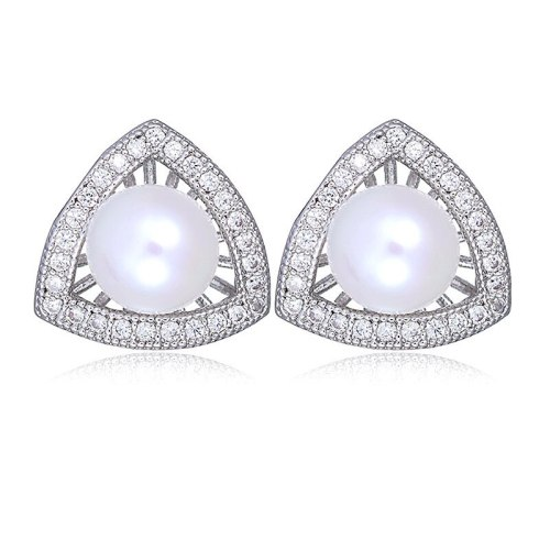 S925 Sterling Silver Needle Stud Earrings Fashion Pearl Stud Earrings Cool All-match Triangle Inlaid Zircon Jewelry Qxwe1109