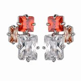 Earrings Korean Style S925 Sterling Silver Stud Earrings Copper Inlaid Colorful Zircon Earrings Jewelry  Qxwe1294
