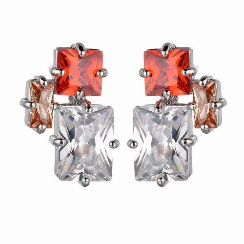 Earrings Korean Style S925 Sterling Silver Stud Earrings Copper Inlaid Colorful Zircon Earrings Jewelry  Qxwe1294