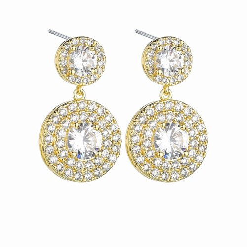 Earrings AAA Zircon Inlaid Electroplated Gold 925 Sterling Silver Ear Pin Women's Bridal Ear Pendant Qxwe1330
