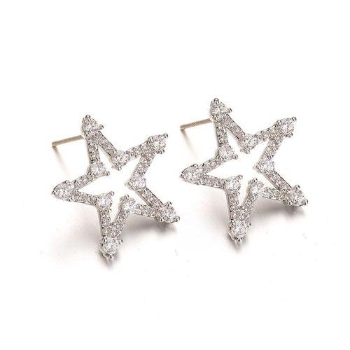 925 Sterling Silver Stud Earrings Cute Sweet Five-Pointed Stars AAA Zircon Inlaid Stud Earrings Birthday Gift Qxwe1026
