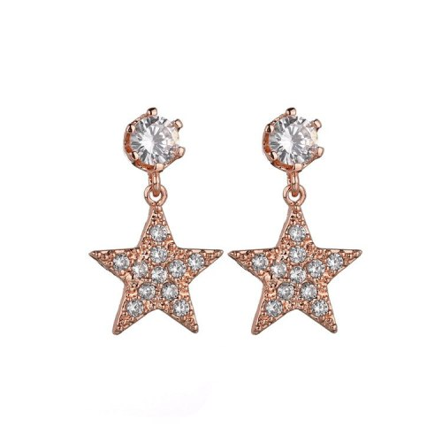 Star Earrings 925 Silver Pin Stud Earrings Copper Inlaid Zircon Hipster Sweet Earrings  Qxwe1054