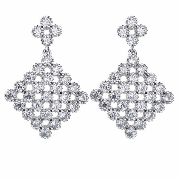 Fashion Creative Jewelry Earrings Copper Inlaid Zircon Plated Platinum Sterling Silver Needle Stud Earrings Qxwe1062
