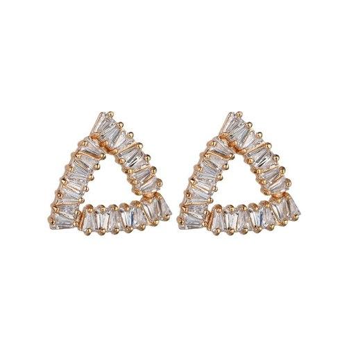 Geometric Triangle Stud Earrings 925 Sterling Silver Ear Pin Copper Inlaid AAA Zircon Fashion Earrings Jewelry Qxwe1169