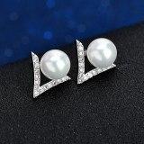 Korean of The 925 Sterling Silver Needle Pearl Stud Earrings Simple Temperament Star Month Ear Stud Female Earrings QxWE0563