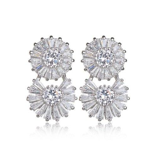 Zircon Earrings AAA Zircon Inlaid Earrings 925 Sterling Silver Ear Pin Korean-Style Lettered Exquisite Stud Earrings Qxwe826