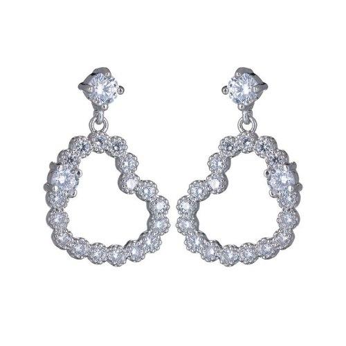 Lovely AAA Zircon Inlaid Stud Earrings Cutout Korean Style Earrings 925 Sterling Silver Ear Pin Girl Earrings Jewelry Qxwe886