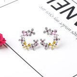 New Style Copper Inlaid Colorful AAA Zircon Floral  Stud Earrings 925 Sterling Silver Needle Earrings Jewelry Qxwe1276