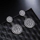 Korean Style Earrings AAA Zircon Double round Earrings Sterling Silver Pin Fashion All-match Female Classic Earrings Qxwe1151