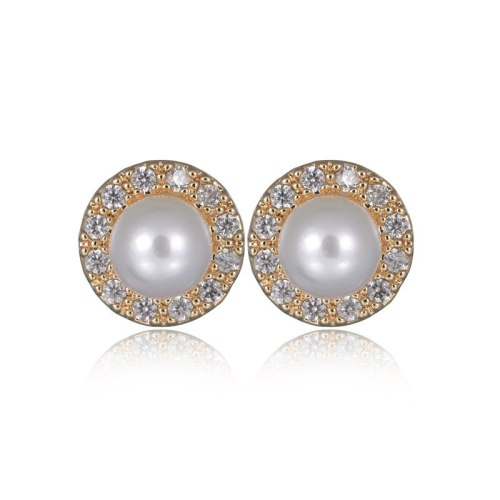 Pearl Zircon Earrings Inlaid with Korean-Style Fashionable Simple Girl's Stud Earrings 925 Silver Pin Qxwe794