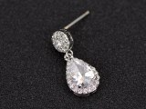 Korean-Style Drop AAA Zircon Earrings Shiny Ear Pendant S925 Sterling Silver Needle Classic Earrings Qxwe1037