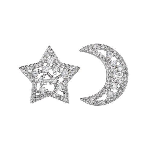 S925 Sterling Silver Stud Earrings Copper Inlaid Zircon Earrings Star Moon Asymmetric Earrings Jewelry Qxwe0577