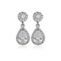 Korean-Style Drop AAA Zircon Earrings Shiny Ear Pendant S925 Sterling Silver Needle Classic Earrings Qxwe1037